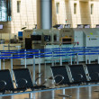 Empty seats and stopped airport equipment in Saturday (Shabbat) — Stock Photo