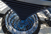 Steel, glass and mirrors - architectural details of Reichstag cu — Stock Photo