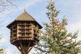 Handmade wooden birdhouse — Stock Photo