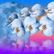 Giant blue moon and romantic orchids flower — Stock Photo