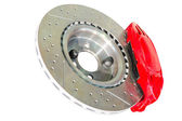 Assembled caliper disc and pads of car brake system — Stock Photo