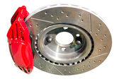 Assembled auto disc brakes red caliper with pads — Stock Photo