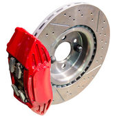 Mechanism of automobile disc brakes: assembled caliper with disk — Stock Photo