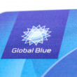 "Stock Photo: Close up corner of plastic card ""Global Blue"" with logo"