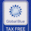 "Stock Photo: Macro logo Tax Free ""Global Blue"" company on plastic card"