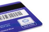 Barcode, magnetic stripe and logo on backside of Tax Free plasti — ストック写真