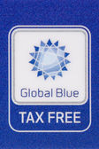 "Macro logo Tax Free ""Global Blue"" company on plastic card — Stock Photo"