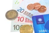 全球蓝公司免税卡用欧洲的钱 — 图库照片