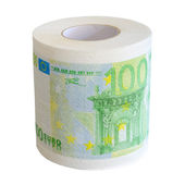 Toilet paper roll of 100 Euro bank notesl isolate — Stock Photo