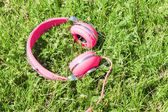 Bright colored pink headphones on green sward — Stock Photo