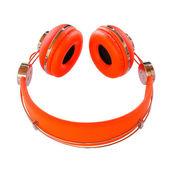 Vivid orange headphones smile — Stock Photo