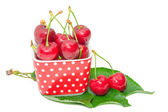 Ripe sweet and juicy cherry tasty berry wet fruits — Stock Photo