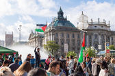 Demonstration supporting of Palestine in the center of Europe — Stock Photo