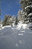Woman is Snow Climbing — Stock Photo