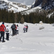 Stock Photo: Snowshoeing through Puez-Odle natural park