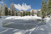 Frozen Pond in the Dolomites — Stock Photo