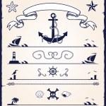 Nautical design elements — Stock Vector