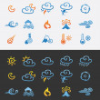 Icon set weather and natural disasters - Stok Vektör