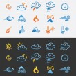 Icon set weather and natural disasters — 图库矢量图片