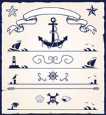 Nautical design elements — Stok Vektör