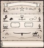 éléments de design sauvage ouest — Vecteur