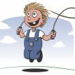 Happy boy playing jump rope — Stock Vector