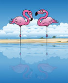 Flirting Flamingos — Stock Vector