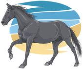 Black galloping horse illustration — Stock Vector