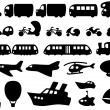 Cute Transportation Icons — Stock Vector