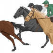Stock Vector: Three jockeys on their racehorses