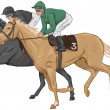 Stock Vector: Two jockeys on their racehorses