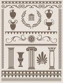 Ancient Greek and Roman Design Elements — Stock Vector