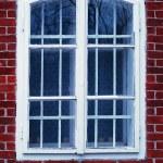 Old white window with bricks — Stock Photo #15306093