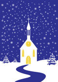 Christmas church of snowy landscape — Stock Vector