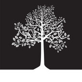 Black and white trees, silhouette, summer — Stock Vector
