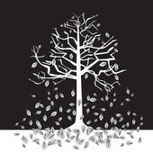 Black and white trees - autumn — Stock Vector