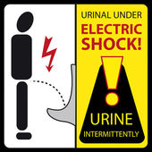 Urinal under electric shock - urine intermittently — Stock Vector