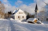 Snowy church — Foto Stock
