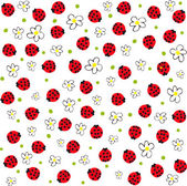 Ladybugs and flowers — Stock Vector