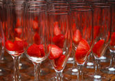 Glass with strawberries — Stock Photo
