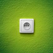 Green power socket — Stock Photo
