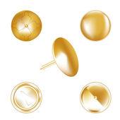 Gold metal thumbtack — Stockvektor