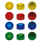 Four colors plastic caps from pet bottles — Stock Vector