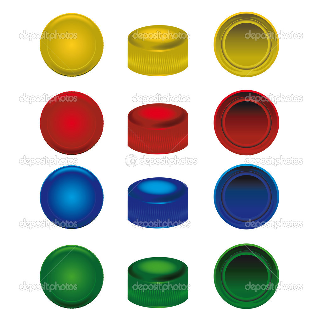 Cuatro colores de las tapas de pl stico de botellas de pet for Tapaderas de wc