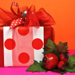 Red Polka Dot Colorful Christmas Gift - Stock Photo
