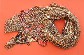 Ladies Animal Print Scarf & Jewelry — Stock Photo