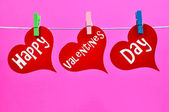 Colorful Hanging Happy Valentines Day Heart Message — Stock Photo