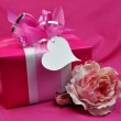 Pink Ladies Present Gift with Rose — Stock Photo