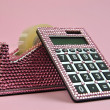 Pink Bling Office Accessories Adhesive Tape Dispenser and Calculator — Stock fotografie #15435997