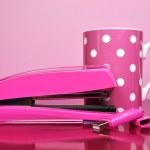 Pink Stapler, Pen Drive and Polka Dot Coffee Mug — Stock Photo #15436751
